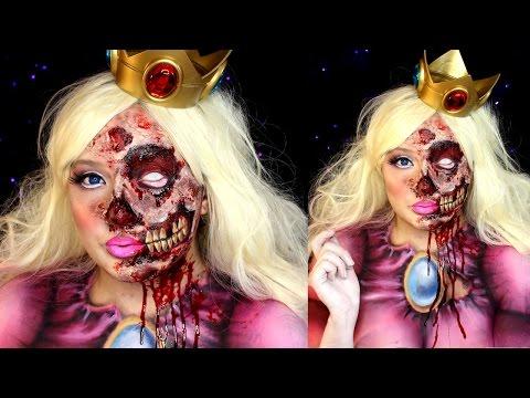 Zombie Princess Peach Halloween Makeup SFX Tutorial | Jordan Hanz / Alex Faction