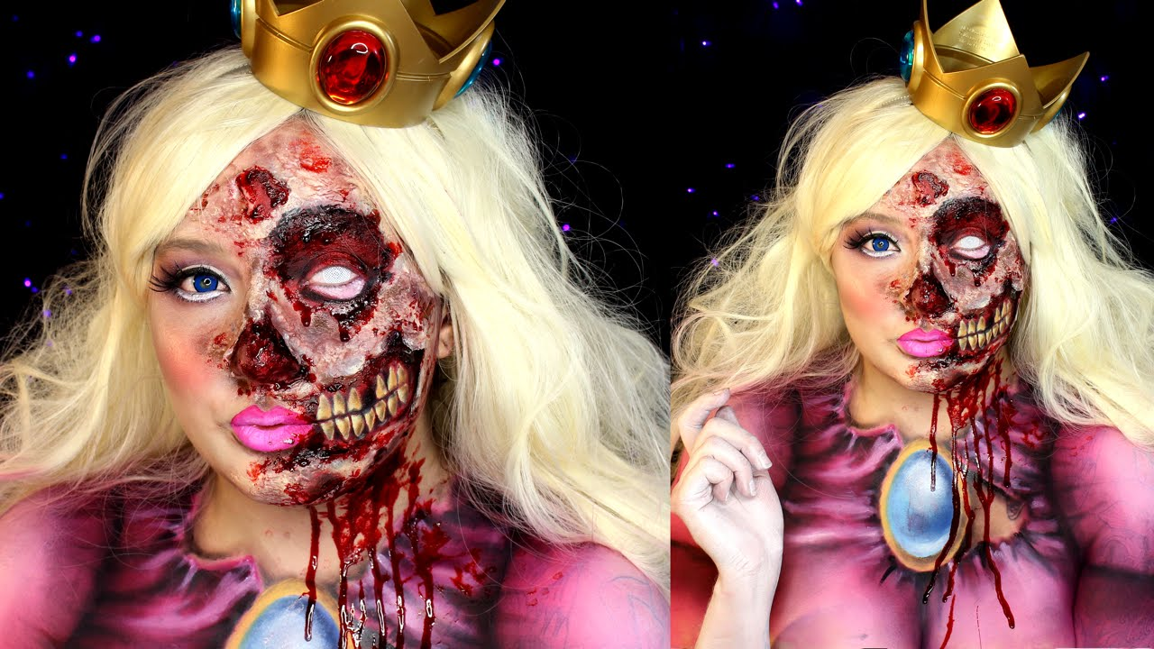 Zombie Princess Peach Halloween Makeup Special FX Tutorial - YouTube