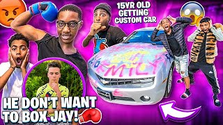 JAY CAR IS GETTING CUSTOMIZED & EMILY BOYFRIEND DON'T WANT TO BOX JAY!?