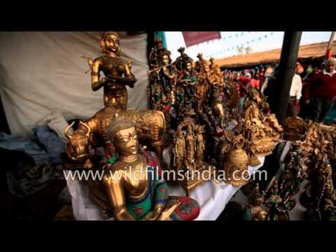 Brass sculptures, soft toys for sale at Surajkund mela, Haryana