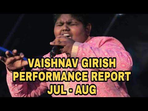 Vaishnav Girish | Performance Report | JULY - AUGUST 2017