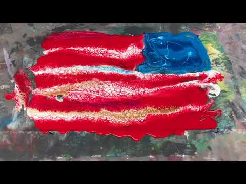Acrylic Pour Painting: American Flag Table Pour & Dip