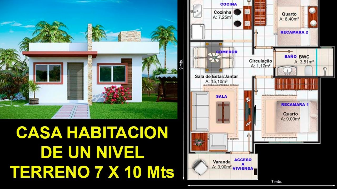 plano de casa en terreno de 7 x 10 mts youtube