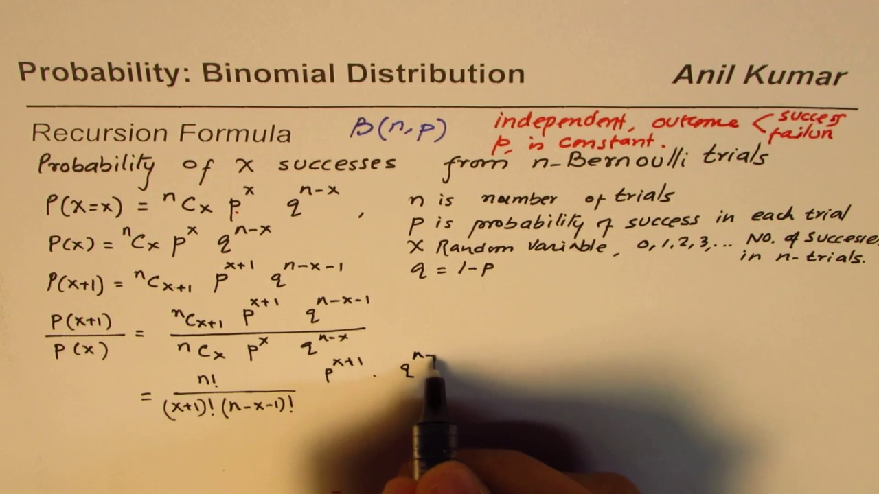 How to Develop Recursion Formula for Binomial Distribution