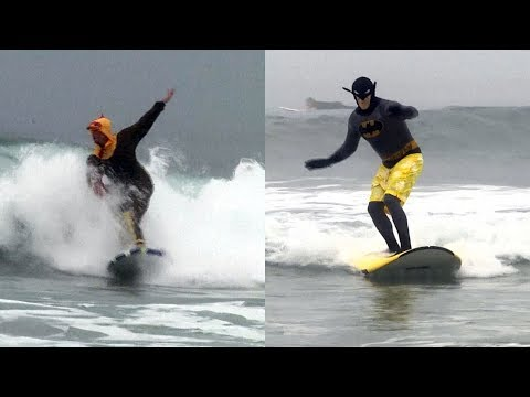 Scott Sloan - VIDEO: Costumed Surfers Ride Newport Beach Waves
