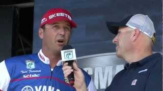 "Todd Faircloth ""River Rumble"" Day 2 weigh-in -- Bassmaster Elite Series 2012, LaCrosse, Wis."