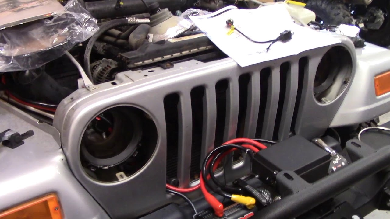 Jeep Wrangler Headlight Upgrade E Code Hella H4 Hid Conversion Youtube Wiring Diagram