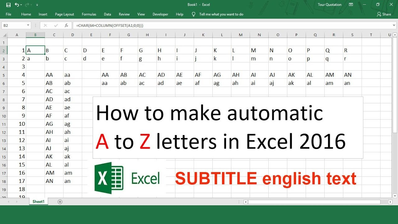 How to make automatic A to Z letters in Excel 20