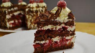"""ТОРТ """"Чёрный Лес"""" Новый Рецепт Шоколадного Бисквита Cake """"Black Forest"""""""
