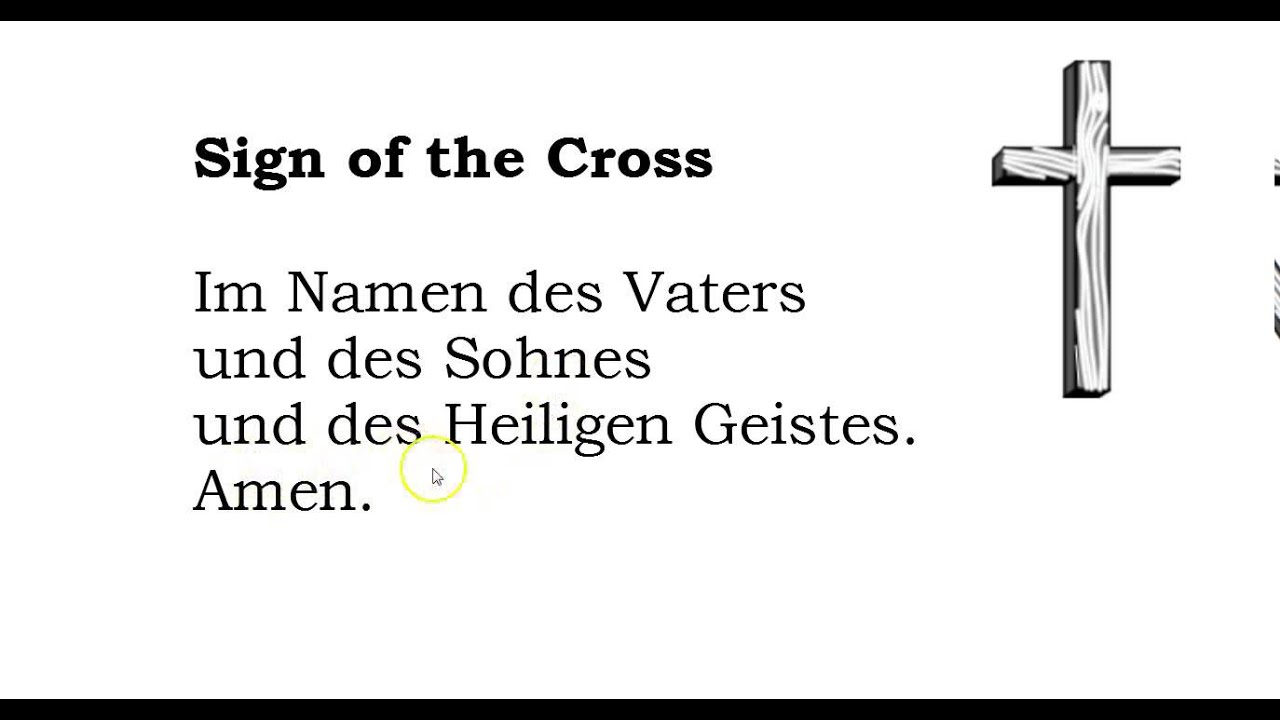 German grammar prayers the sign of the cross in german for The sign