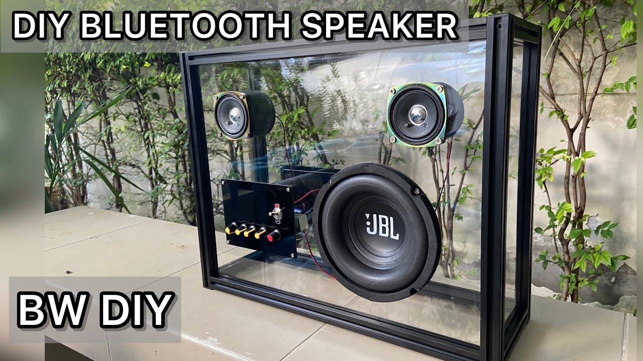 Diy bluetooth speaker  2.1 chanel  200W transparent with black aluminium  aluminium profile frame