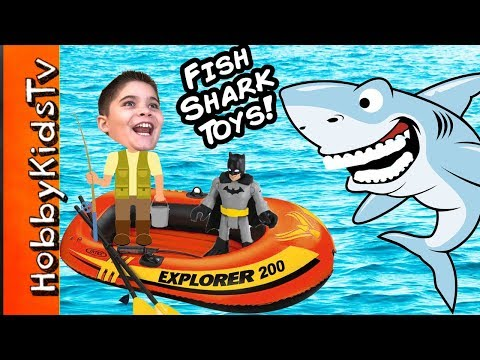 Biggest SHARK WEEK EGG! Boat Fishing For Toys Adventure + Shark Imaginext Animal Planet HobbyKidsTV