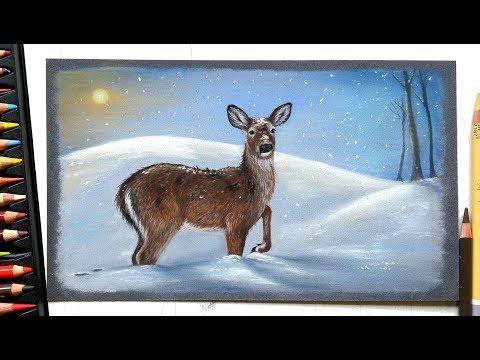 drawing-a-deer-in-the-snow-with-pastels-|-leontine-van-vliet