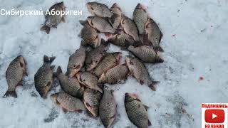 Крупные Караси один за одним выходили из лунки Рыбалка сетями 2021 Начало года Январь