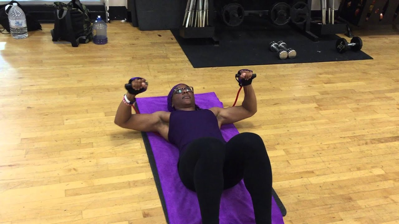 Resistance Band Chest Press Bench Youtube