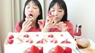 크리스피크림 도넛 먹방 _ 크리스피 딸기 천국 ♡ 도넛 먹방, 디저트 먹방, Krispy Kreme, Mukbang, E