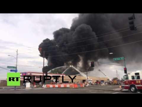На нефтеперерабатывающем заводе в Финиксе произошел мощный пожар