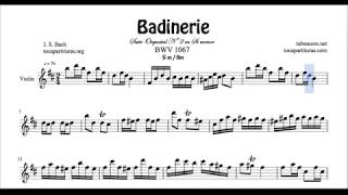 Badinerie Partitura de Violín en Si menor Tono Original Sheet Music for Violinists B minor
