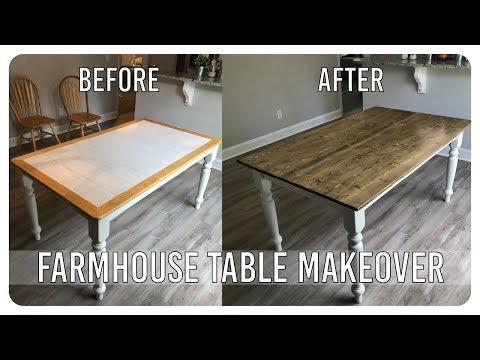 Diy Dining Room Table Makeover Farmhouse Table Edition Youtube