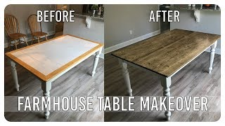 DIY Dining Room Table Makeover - Farmhouse Table Edition