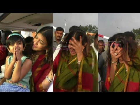 Telugu Actress Manchu Lakshmi Looking Super Cool With Her Daughter at Tirumala
