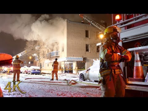 Villeray: Incendie mortel 5 alarmes / Elderly woman dies in fire 12-19-2017