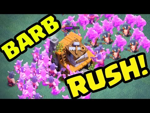 MASS Barbarian RUSH - Clash of Clans Builder Hall Strategy - and Free GEMS for viewers!