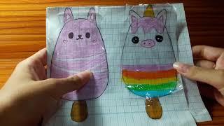Hướng dẫn làm squishy giấy kem thú kem thỏ và kem kỳ lân