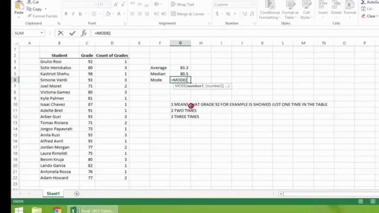 arithmetic mean median mode pdf