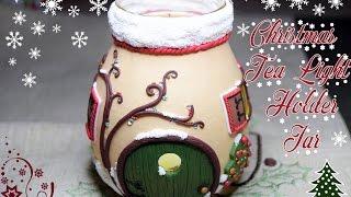 Christmas Tea Light Holder Jar Tutorial-Big Collaboration Video-Polymer Clay
