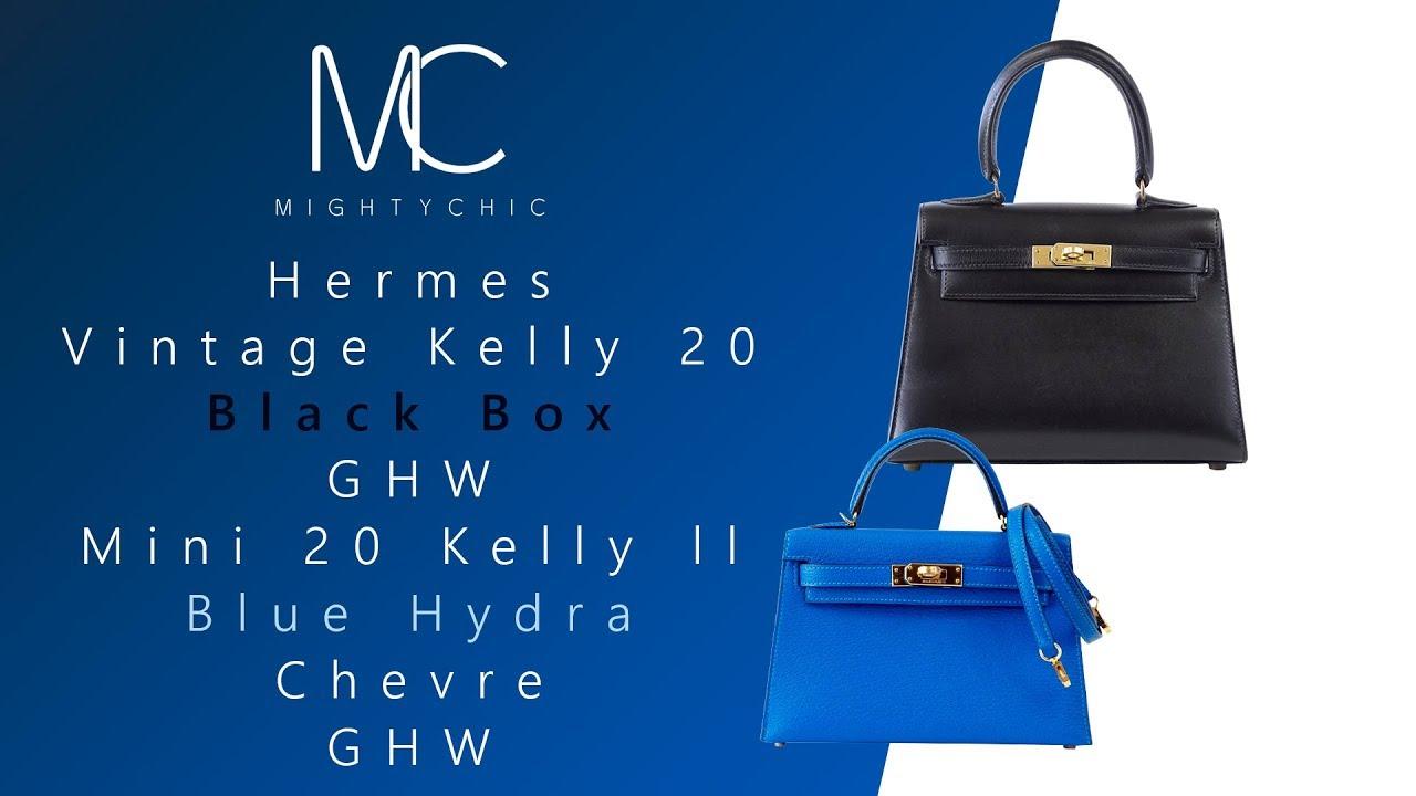 28063214f7ad MIGHTYCHIC • Hermes Vintage Kelly 20 Black Box GHW Hermes Mini 20 Kelly ll  Blue Hydra Chevre GHW