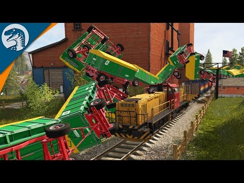CRAZY TRAIN CRASH & ROAD TRAIN | Farming Simulator 2017 Gameplay