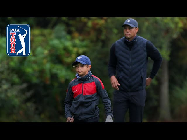 Tiger and Charlie Woods' range session at PNC Championship
