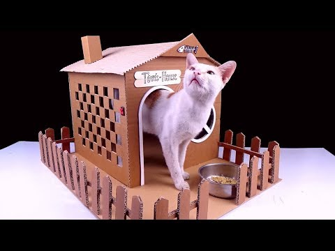 How To Make Amazing Cat House From Cardboard - Pet [ Mr H2 ]