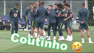 Coutinho has ears flicked by Brazil team-mates after mucking up keepy-uppy session