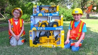 Toy Truck Videos for Children - Toy Bruder Buldozer Tractor, Backhoe Excavator and Front Loader