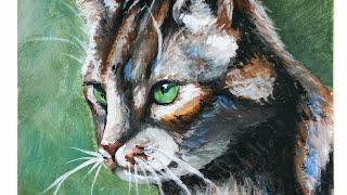Рисую кота гуашью (sub)  I draw a cat with gouache