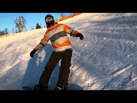 Горные лыжи и сноуборд. Мыски, Кемеровская область. Спуск с горы