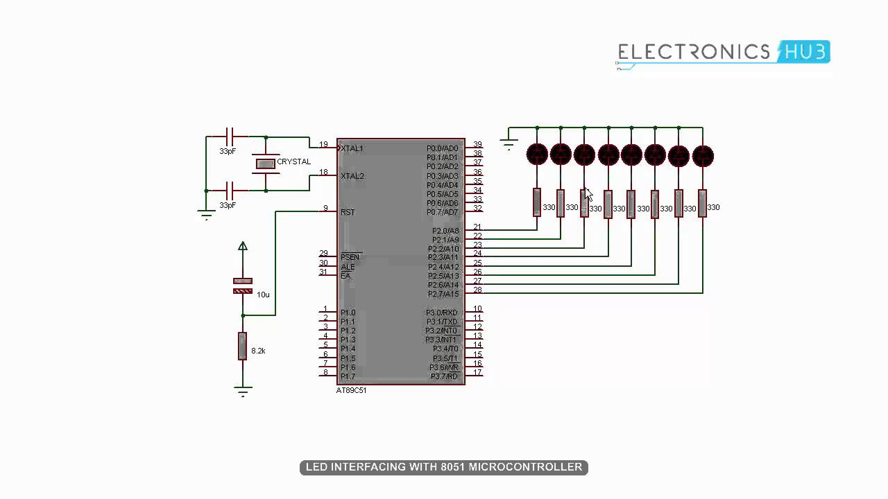 led interfacing with 8051 microcontroller youtube circuit diagram of interfacing leds to 8051 microcontroller [ 1280 x 720 Pixel ]