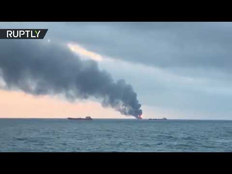 2 ships on fire in Kerch Strait after blast reportedly rocks one of them