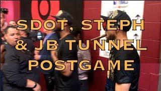 Steph Curry, Shaun Livingston, Zaza and Jordan Bell emerge from locker room postgame G4