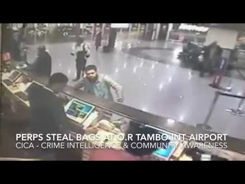 Criminals stealing travelers bags at OR Tambo International airport AVIS counter in South Africa