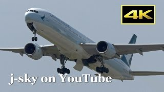 [4K] New Color Scheme Cathay Pacific Airways Boeing 777-300 at Kansai Airport / キャセイパシフィック航空 関西空港