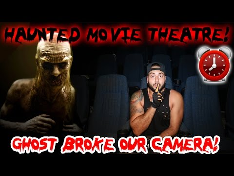 (HAUNTED) 24 HOUR HOUR OVERNIGHT CHALLENGE HAUNTED ABANDONED MOVIE THEATRE // GHOST BREAKS CAMERA!!
