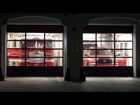 Fire Trucks And Police Cars Responding To A Vehicle Rollover (Full Station)
