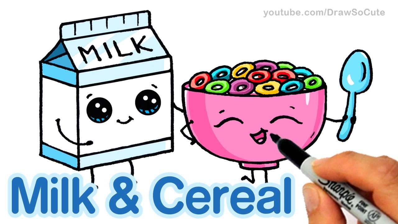How to Draw Milk and Cereal Easy - Cartoon Food - YouTube