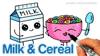 How to Draw Milk and Cereal step by step Cute and Easy - Cartoon Food