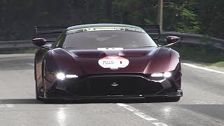 Aston Martin Vulcan AMR Pro driving on the Italian roads! - Insane V12 Sound & Accelerations
