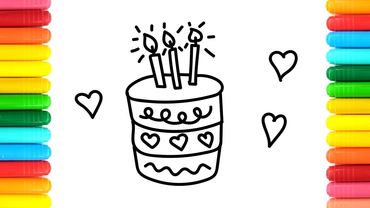 coloring birthday cake with hearts colouring pages youtube