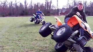 atv quad bike stunts at brents house... funny